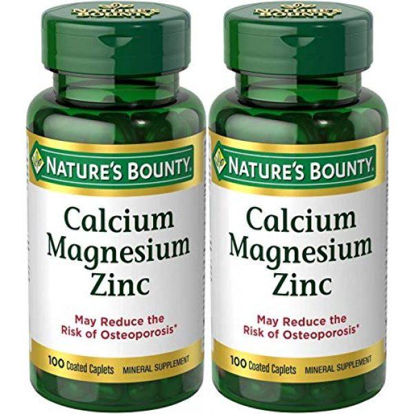 Nature's Bounty Calcium Supplement 1 Nature's Bounty Calcium-Magnesiuim-Zinc, 100 Caplets (Pack of 2)