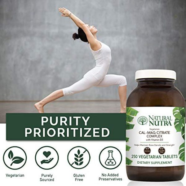 Natural Nutra Calcium Supplement 4 Natural Nutra Cal-Mag Citrate with Vitamin D3, Calcium, Magnesium, 1000/500 mg Complex, Strengthen Bone Density, Muscle and Nerve Health, Highly Bioavailable Sources of Ascorbate, 250 Vegan Tablets