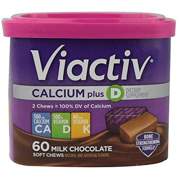 Viactiv Calcium Supplement 1 VIACTIV Calcium Plus D, Soft Chews, Milk Chocolate 60 ea (Pack of 3)