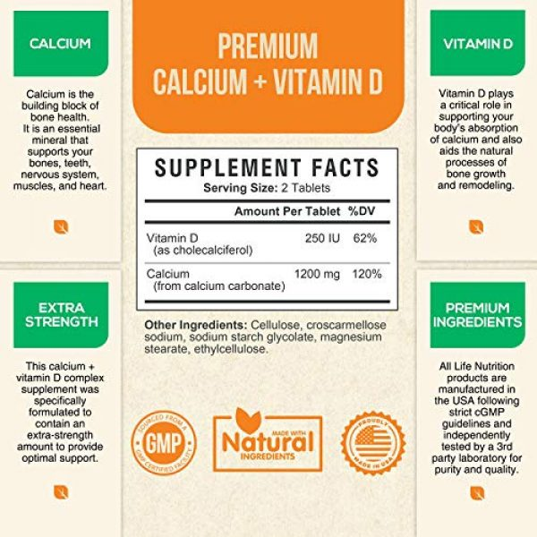 Life Nutrition Calcium Supplement 2 Calcium Supplement 600mg per Tablet - High Potency Calcium Carbonate Plus Vitamin D - Made in USA - Highly Absorbable Bone Support Vitamins, Non-GMO for Men and Women - 120 Tablets