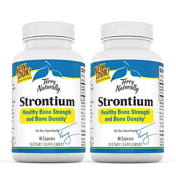 Terry Naturally Calcium Supplement 1 Terry Naturally Strontium (2 Pack) - 680 mg, 60 Vegan Capsules - Essential Mineral Supplement, Supports Bone Strength & Density - Non-GMO, Gluten-Free, Kosher - 60 Total Servings