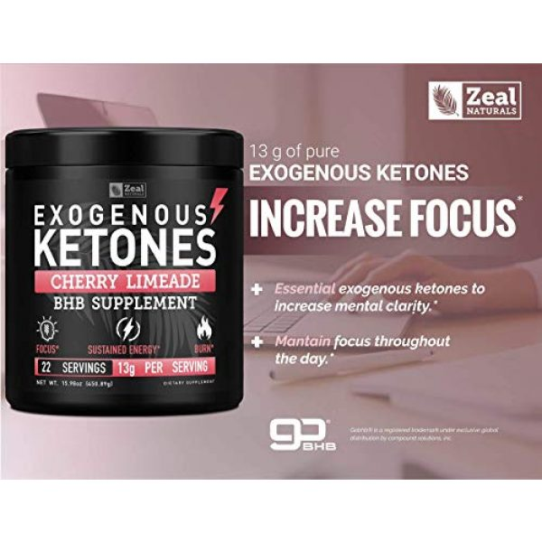 Zeal Naturals Calcium Supplement 5 Pure Exogenous Ketones BHB Powder (13g | 22 Servings) Best Tasting Keto Drink with goBHB® Salts Beta Hydroxybutyrate Supplement - Keto Powder for Weight Maintenance, Energy & Ignite Ketosis