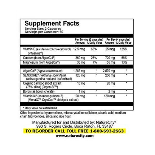 NatureCity Calcium Supplement 3 True-Osteo Plant Calcium Bone Support Supplement w AlgaeCal Vitamin K2 Magnesium (3)