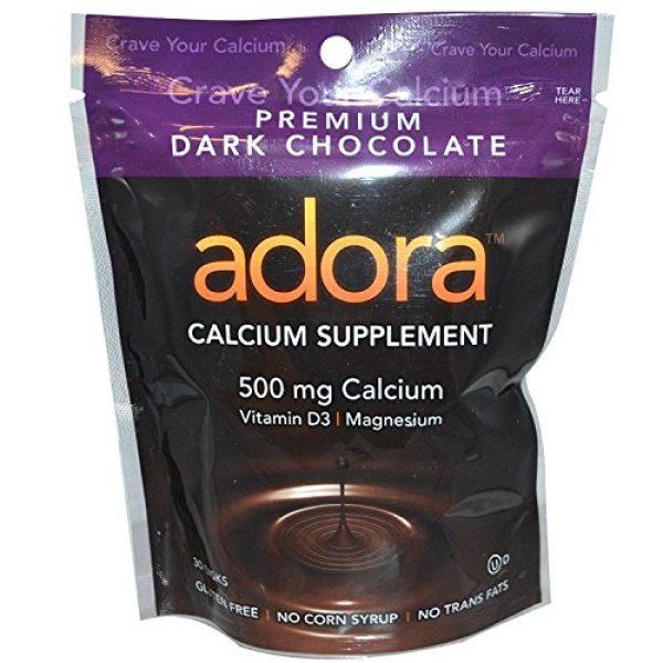 Adora Calcium Supplement 1 Adora Adora Calcium Supplement, 500mg, Dark Chocolate 30 disks (Quantity of 4)