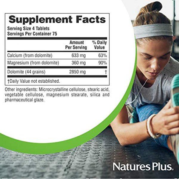 Nature's Plus Calcium Supplement 6 NaturesPlus Dolomite 44 Grain - 300 Vegetarian Tablets - Calcium & Magnesium Supplement, Heart Health Support, Promotes Healthy Bones - Hypoallergenic, Gluten-Free - 75 Servings