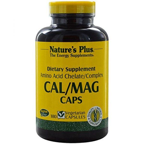 Nature's Plus Calcium Supplement 1 NaturesPlus Cal/Mag - 500 mg Calcium, 250 mg Magnesium, 180 Vegetarian Capsules - Bone Health Support Supplement, Promotes Heart Health - Gluten-Free - 90 Servings