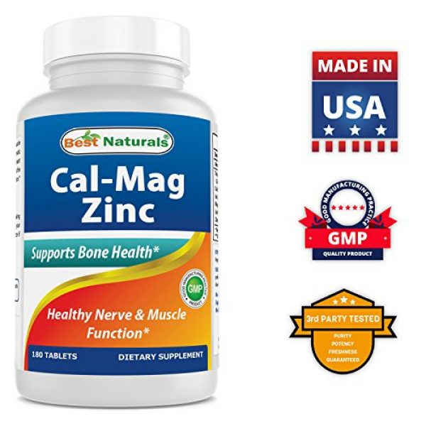 Best Naturals Calcium Supplement 5 #1 CAL MAG ZINC by Best Naturals - Essential Mineral Complex - Manufactured in a USA Based GMP Certified Facility and Third Party Tested for Purity. Guaranteed!!, 180 Tablets