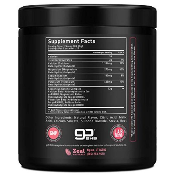 Zeal Naturals Calcium Supplement 2 Pure Exogenous Ketones BHB Powder (13g | 22 Servings) Best Tasting Keto Drink with goBHB® Salts Beta Hydroxybutyrate Supplement - Keto Powder for Weight Maintenance, Energy & Ignite Ketosis