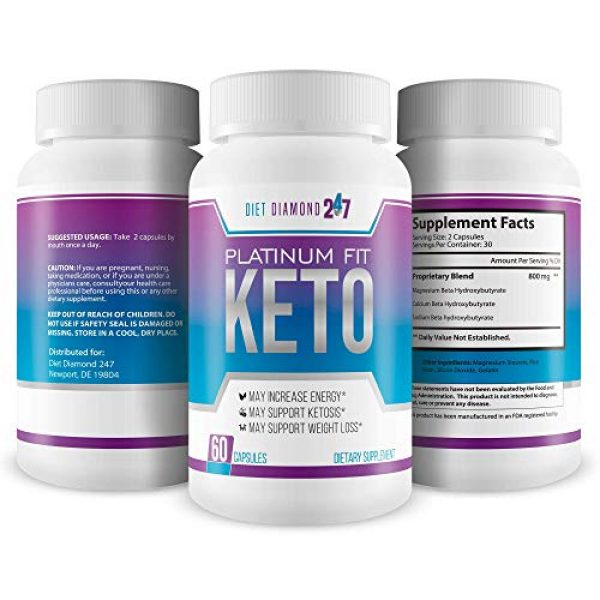 Diet Diamond 247 Calcium Supplement 4 Platinum Fit Keto - Burn Fat Faster to Lose More Weight - Calcium BHB Accelerated Ketosis - Help Your Body Get Into Ketosis Faster So You Can Burn Fat Now