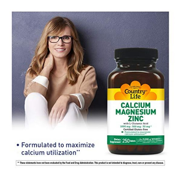 Country Life Calcium Supplement 2 Country Life - Calcium Magnesium Zinc, 100/500/50 mg - 250 Tablets