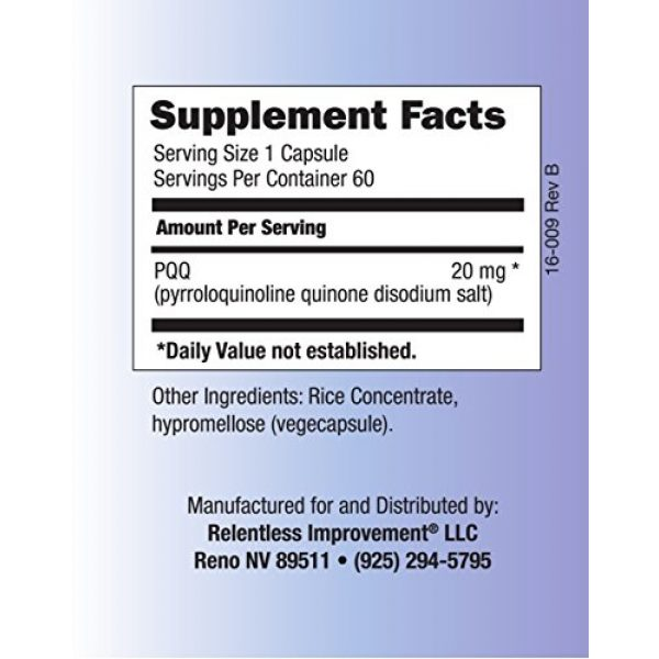 Relentless Improvement Calcium Supplement 4 Relentless Improvement PQQ No Silicon Dioxide No Magnesium Stearate No Added Calcium