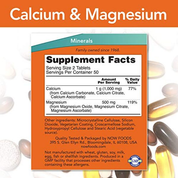 NOW Foods Calcium Supplement 2 NOW Supplements, Calcium & Magnesium 2:1 Ratio, High Potency, Supports Bone Health*, 100 Tablets