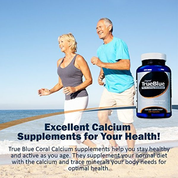 True Blue Calcium Supplement 4 Premium Coral Calcium Supplement - Pure Coral Capsules (120 Gelatin Caps) - from Okinawa Japan with 73 Vital Minerals and Elements - Contains Magnesium and Vitamin D3-40-Day Supply