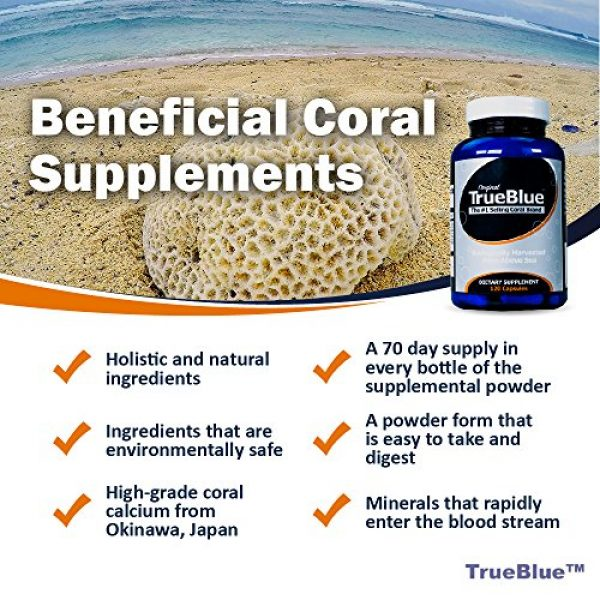 True Blue Calcium Supplement 5 Premium Coral Calcium Supplement - Pure Coral Capsules (120 Gelatin Caps) - from Okinawa Japan with 73 Vital Minerals and Elements - Contains Magnesium and Vitamin D3-40-Day Supply