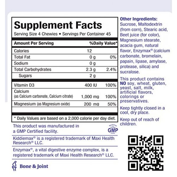 Maxi Health Calcium Supplement 4 Maxi Health KiddieMax Calcium - CalciYum! - Strawberry Flavor - 90 Animal Shaped Chewies - Kosher