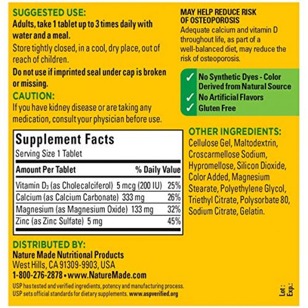 Nature Made Calcium Supplement 6 Nature Made Calcium, Magnesium Oxide, Zinc with Vitamin D3 helps support Bone Strength, Tablets, 300 Count