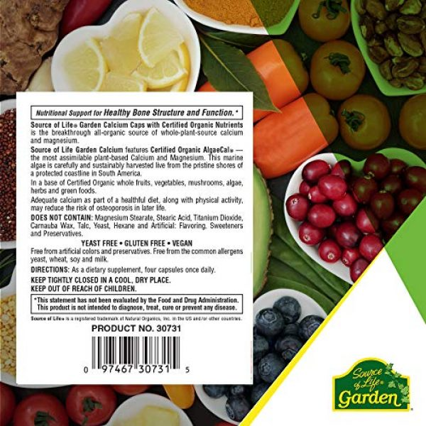 Nature's Plus Calcium Supplement 7 NaturesPlus Source of Life Garden Certified Organic Calcium with AlgaeCal - 1000 mg, 120 Vegan Capsules - Plant-Based Bone Health Support Supplement - Vegetarian, Gluten-Free - 30 Servings