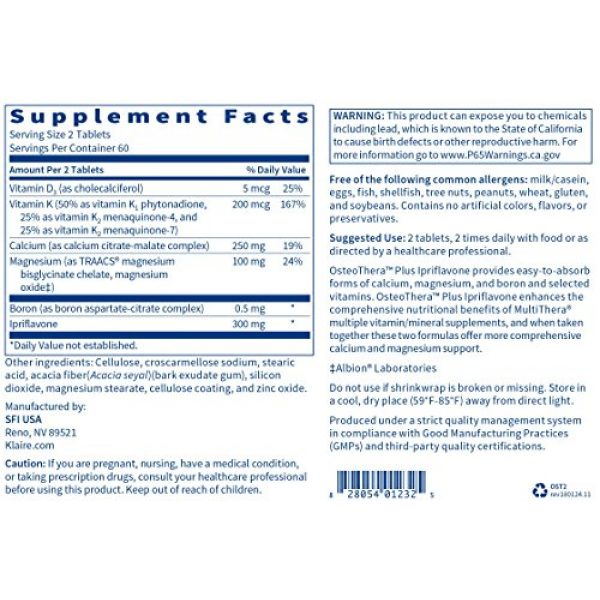 Klaire Labs Calcium Supplement 5 Klaire Labs Osteothera Plus Ipriflavone Tablets - Hypoallergenic & Multifactorial Calcium Complex & Isoflavone Derivative Bone Support Formula with Vitamin K, D3, Magnesium & Boron (120 Tablets)