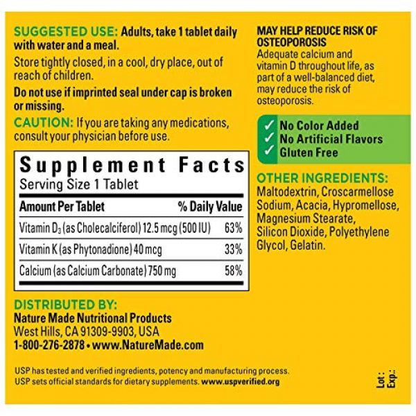 Nature Made Calcium Supplement 2 Nature Made Calcium 750 mg with Vitamin D3 and K helps support Bone Strength, Tablets, 100 Ct