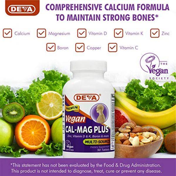 DEVA Calcium Supplement 6 DEVA Vegan Cal MAG Plus - Supplement with Calcium, Magnesium, Zinc, Boron, Vitamin C, D & K - Daily Nutritional Supplement to Maintain Strong Bones* - 90 Vegetarian/Vegan Tablets, 2-Pack