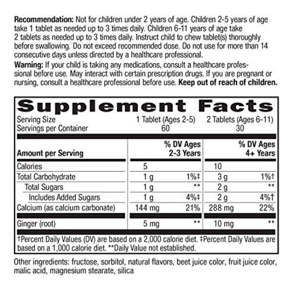 Nature's Way Calcium Supplement 5 Natures Way Kids Tummy Soothe, with Calcium & Ginger, Berry Blast Flavored, 60 Vegetarian Chewables
