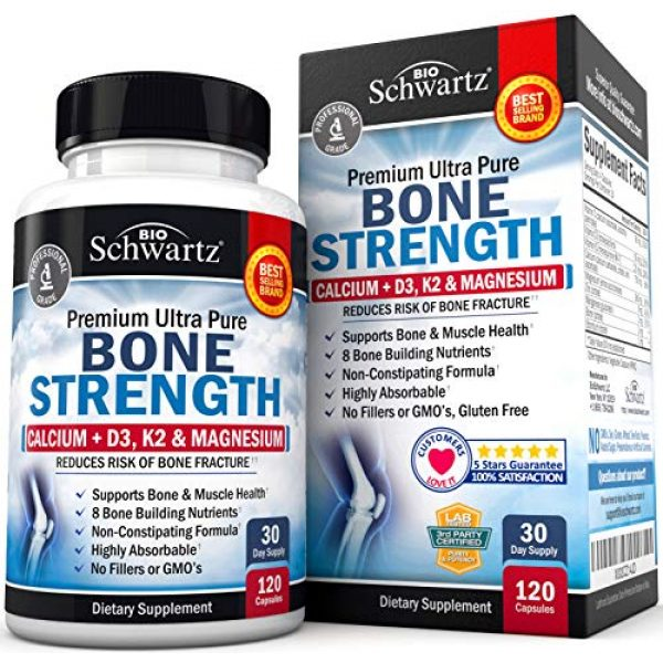 BioSchwartz Calcium Supplement 1 Bone Strength Supplement with Calcium + D3, K2 & Magnesium - Highly Absorbable Vitamin Blend for Bone & Muscle Support - Non-Constipating Formula - 8 Bone Building Nutrients - 120 Count