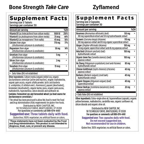 New Chapter Calcium Supplement 2 New Chapter Calcium + Joint Bundle with Bone Strength's Plant Calcium and Zyflamend's 10 Herb Blend for Herbal Pain Relief, 30 Day Supply