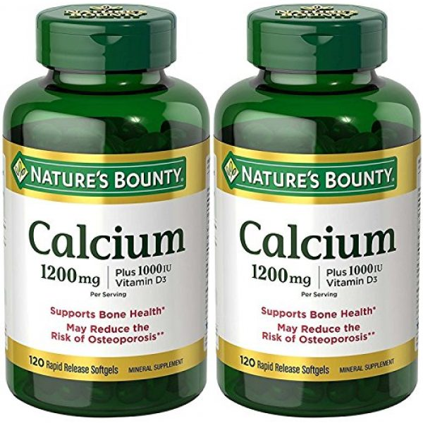 Nature's Bounty Calcium Supplement 1 Nature's Bounty Calcium 1200 Mg. Plus Vitamin D3, 240 Softgels (2 X 120 Count Bottles)