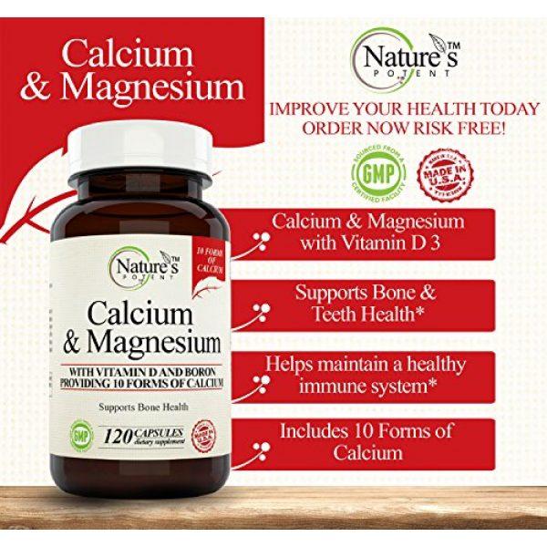 Nature's Potent Calcium Supplement 4 Calcium Magnesium Supplement with Vitamin D, Boron - Providing 10 Forms of Calcium, 120 (Capsules)