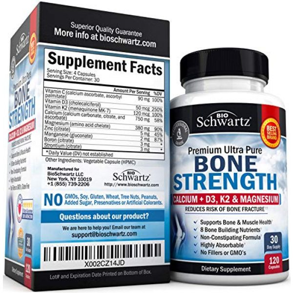 BioSchwartz Calcium Supplement 3 Bone Strength Supplement with Calcium + D3, K2 & Magnesium - Highly Absorbable Vitamin Blend for Bone & Muscle Support - Non-Constipating Formula - 8 Bone Building Nutrients - 120 Count
