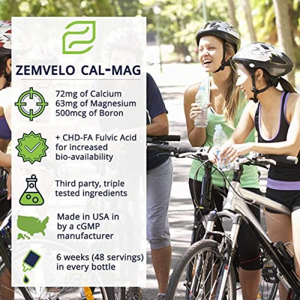 Zemvelo Calcium Supplement 5 Liquid Ionic Cal/MAG (Calcium, Magnesium, Boron) | Supports Strong Teeth & Bones, Muscle Function, Heart Health, Restful Sleep | 8 Oz, 48 Day Supply