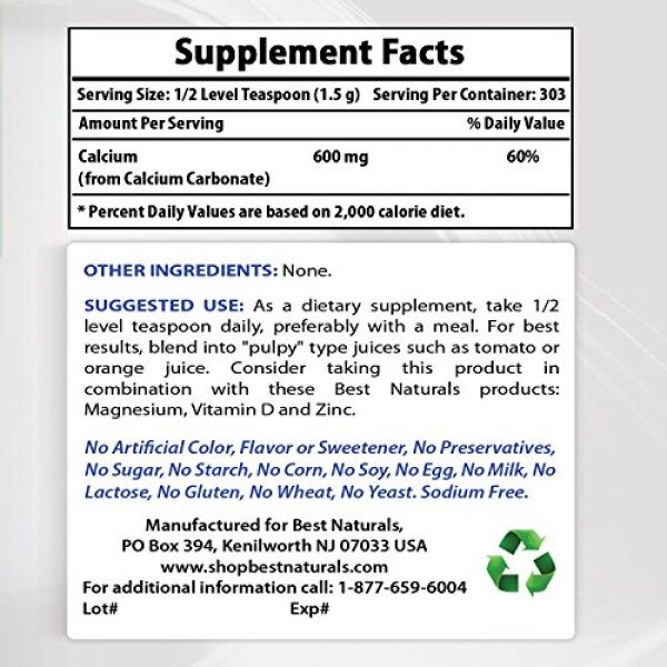 Best Naturals Calcium Supplement 2 2 Pack - Best Naturals Calcium Carbonate Powder 1 Pound (Total 2 Pound) - Food Grade