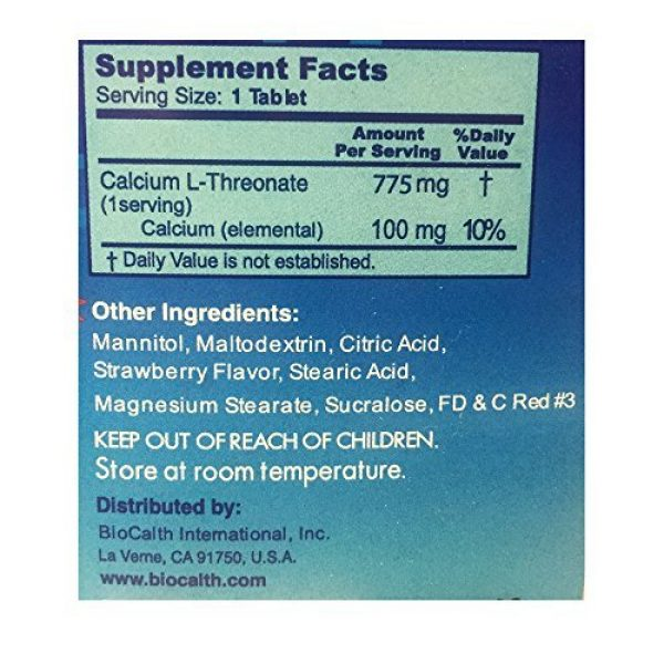 """BIOCALTH Calcium Supplement 7 The Only Calcium with 3 U.S. Patents """"""""BioCalth® Calcium L-threonate 180 Chewable Tablets"""