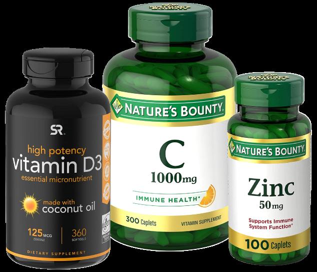 Cyber Vitamins Nature's Bounty Vitamin C, D, and Zinc
